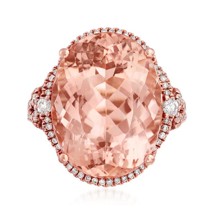 18.00 Carat Pink Morganite and .47 ct. t.w. Diamond Ring in 14kt Rose Gold. Size 7