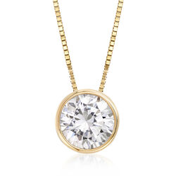 "1.00 Carat Bezel-Set Diamond Solitaire Necklace in 14kt Yellow Gold. 18"", , default"