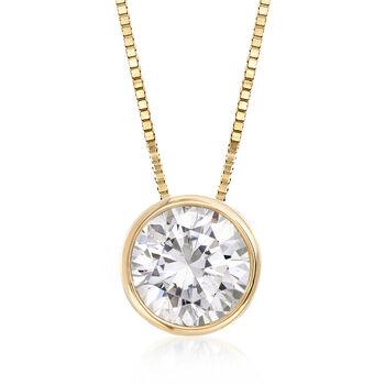 "1.00 Carat Bezel-Set Diamond Solitaire Necklace in 14kt Yellow Gold. 18"", , default"