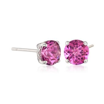 1.90 ct. t.w. Pink Topaz Stud Earrings in 14kt White Gold, , default
