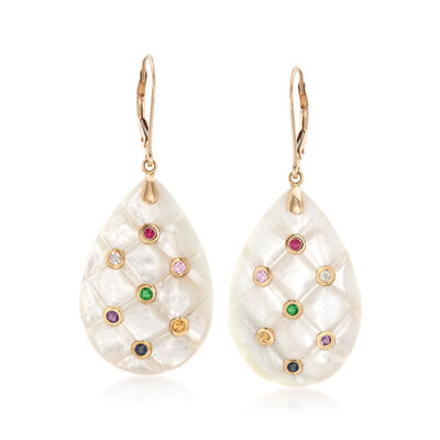 Mother-Of-Pearl and .66 ct. t.w. Multi-Stone Drop Earrings in 14kt Yellow Gold, , default
