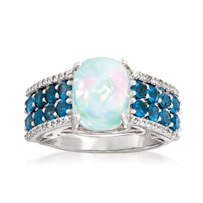 10x8mm Opal, 13.00 ct. t.w. Lodon Blue Topaz and .20 ct. t.w. White Zircon Ring in Sterling Silver
