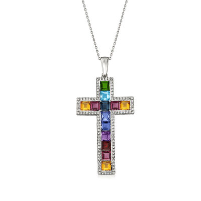 1.90 ct. t.w. Multi-Gemstone Cross Pendant Necklace in Sterling Silver, , default