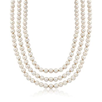 """8-9mm Cultured Pearl Three-Strand Necklace With 14kt Yellow Gold. 20"""", , default"""