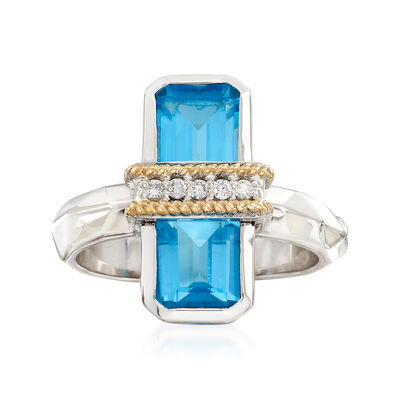"Andrea Candela ""Ilusion"" 3.80 ct. t.w. Blue Topaz and Diamond Ring in 18kt Gold and Sterling, , default"