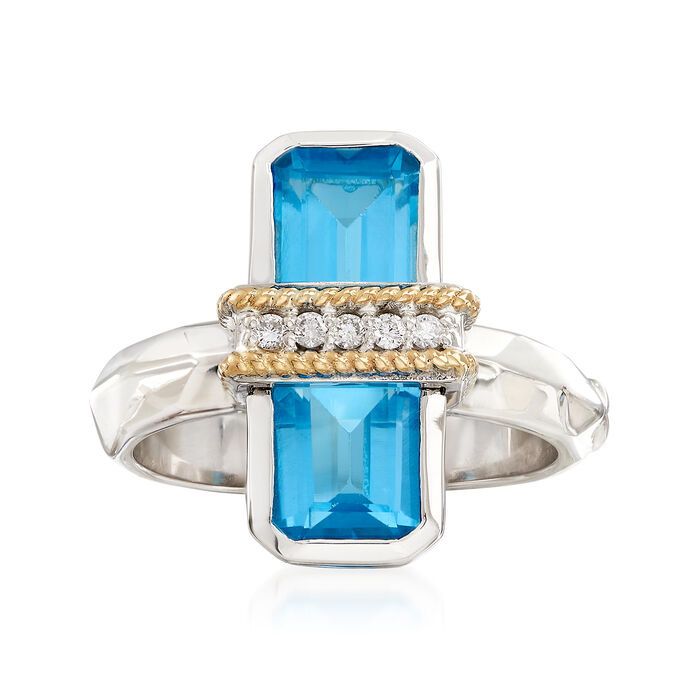 """Andrea Candela """"Ilusion"""" 3.80 ct. t.w. Blue Topaz and Diamond Ring in 18kt Gold and Sterling"""