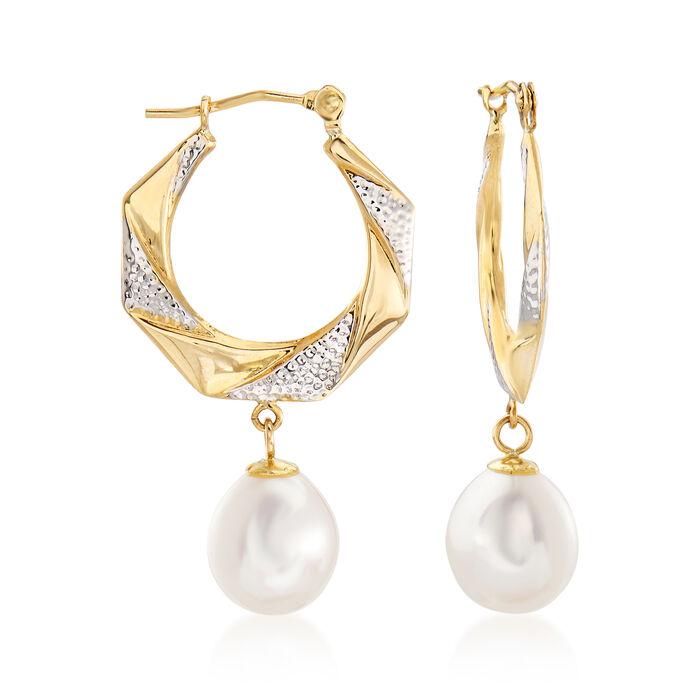"8mm Cultured Pearl Drop Hoop Earrings in 14kt Two-Tone Gold. 1 1/4"", , default"
