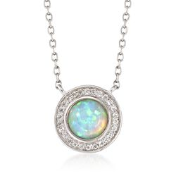 Opal and .30 ct. t.w. White Topaz Necklace in Sterling Silver, , default