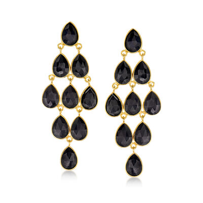 Black Onyx Chandelier Earrings in 18kt Gold Over Sterling, , default