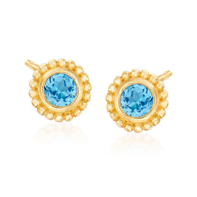 "Phillip Gavriel ""Popcorn"" .60 ct. t.w. Blue Topaz Stud Earrings in 14kt Yellow Gold, , default"