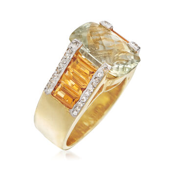 6.00 Carat Green Prasiolite and 3.30 ct. t.w. Citrine Ring with White Zircons in 18kt Gold Over Sterling, , default