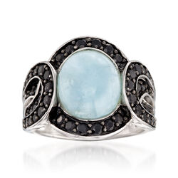 3.80 Carat Cabochon Aquamarine and Black Spinel Ring in Sterling Silver, , default