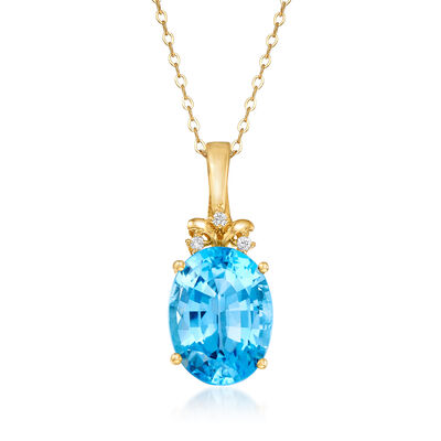 C. 1980 Vintage 12.45 Carat Blue Topaz Pendant Necklace with Diamond Accents in 14kt Yellow Gold, , default