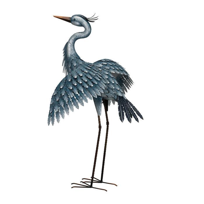 Metallic Blue Heron Decorative Garden Statue - Wings Down