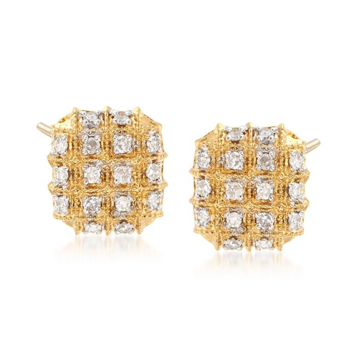 .25 ct. t.w. Diamond Checkerboard Earrings in 18kt Yellow Gold Over Sterling Silver, , default