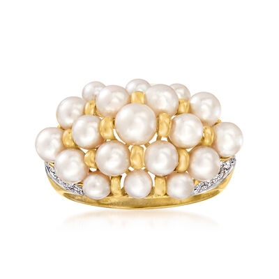 C. 2000 Vintage 3.5-5mm Cultured Pearl Cluster Ring with Diamond Accents in 14kt Yellow Gold