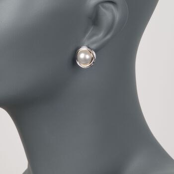 11-11.5mm Cultured Mabe Pearl Swirl Earrings in Two-Tone Sterling Silver, , default