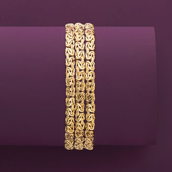 18kt Yellow Gold Over Sterling Silver Three-Row Byzantine Bracelet, , default