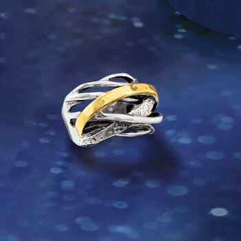 Sterling Silver and 14kt Yellow Gold Highway Ring
