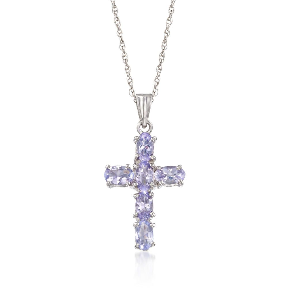 140 ct tw tanzanite cross pendant necklace in sterling silver tw tanzanite cross pendant necklace in sterling silver 18quot aloadofball Choice Image
