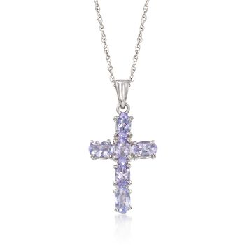 """1.40 ct. t.w. Tanzanite Cross Pendant Necklace in Sterling Silver. 18"""", , default"""