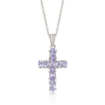 1.40 ct. t.w. Tanzanite Cross Pendant Necklace in Sterling Silver, , default