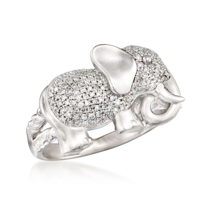 .25 ct. t.w. Diamond Elephant Ring in Sterling Silver