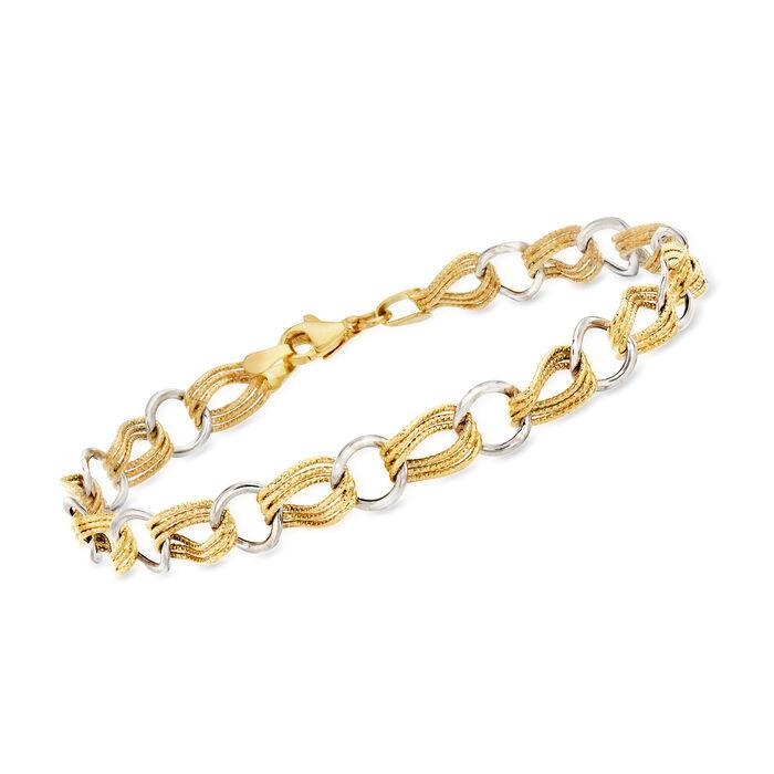 14kt Two-Tone Gold Alternating-Link Bracelet