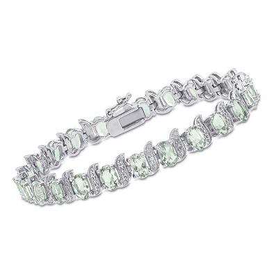 9.60 ct. t.w. Green Prasiolite and Diamond-Accented Bracelet in Sterling Silver