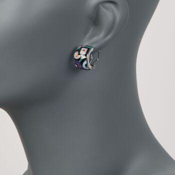 """Belle Etoile """"Geometrica"""" Multicolored Enamel and .15 ct. t.w. CZ Hoop Earrings in Sterling Silver. 3/4"""", , default"""