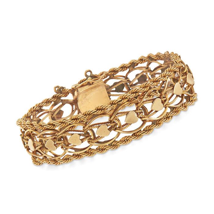 "C. 1960 Vintage Rope Heart Link Bracelet in 14kt Yellow Gold. 7.5"""