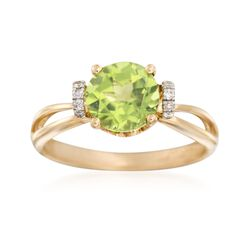2.20 Carat Peridot Ring With Diamond Accents in 14kt Yellow Gold, , default