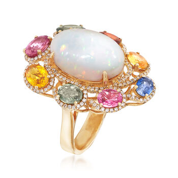 Opal and 3.95 ct. t.w. Multicolored Multi-Gem Ring in 18kt Yellow Gold