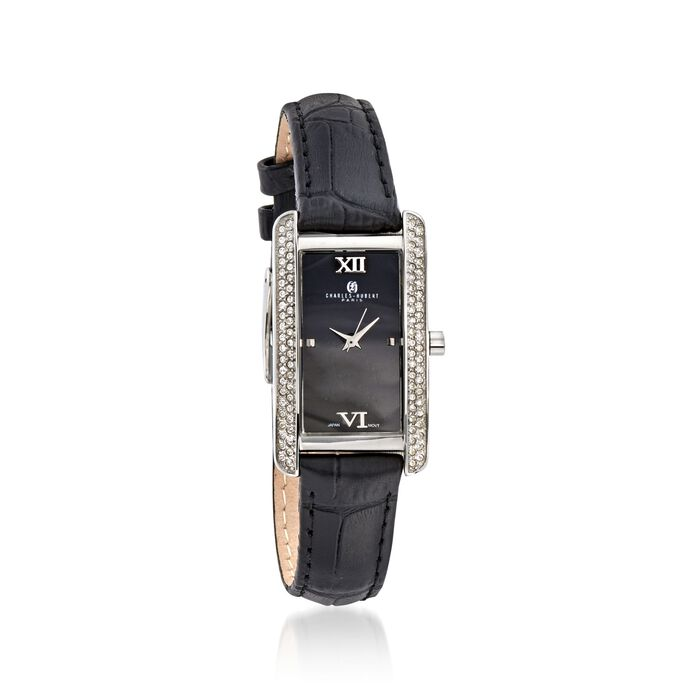Charles Hubert Women's 30mm Swarovski Crystal Watch with Black Leather Strap , , default