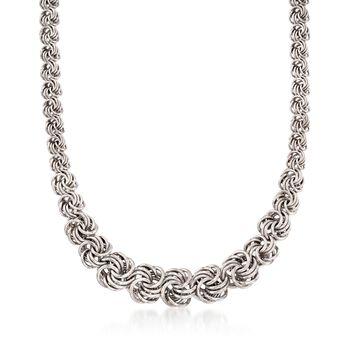 "Italian Sterling Silver Graduated Rosette Link Necklace. 16"", , default"