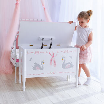 Child's Swan Lake Wooden Toy Chest