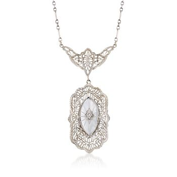 C. 1950 Vintage Frosted Rock Crystal Filigree Necklace, Diamond Accent