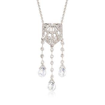 C. 2000 Vintage Rock Crystal, .25ct t.w. Diamond Lavalier Necklace