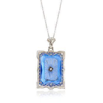 C. 1950 Vintage Engraved Rock Crystal, Blue Glass Pendant Necklace, Quartz
