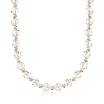Rock Crystal Bead Necklace With 14kt Yellow Gold