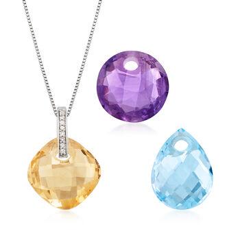 Black, White Diamond Reversible Necklace, Three Interchangeable Gemstones