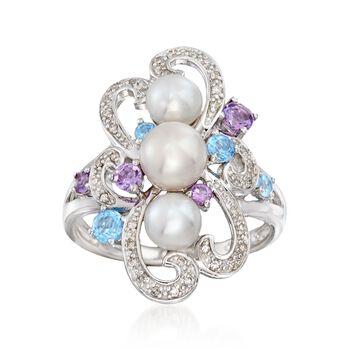 5-6.5mm Cultured Pearl, .50ct t.w. Multi-Stone Swirl Ring in Silver