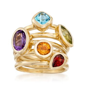 2.80ct t.w. Multi-Stone Jewelry Set: Five Rings in Gold Over Silver