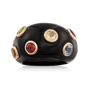 Black Onyx and 1.20 ct. t.w. Multi-Stone Ring in 14kt Yellow Gold