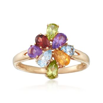 1.00ct t.w. Multi-Stone Cluster Ring in 18kt Rose Gold Over Silver
