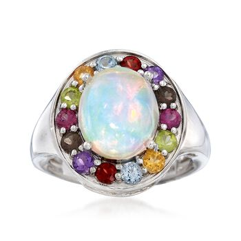 Opal and 1.00 ct. t.w. Multi-Stone Ring in Sterling Silver