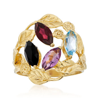 Black Onyx, 1.90ct t.w. Multi-Stone Leaf Ring in Gold Over Sterling