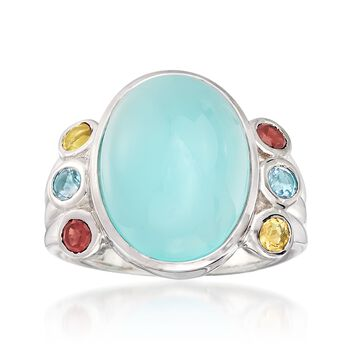 Aqua Chalcedony and .50 ct. t.w. Multi-Stone Ring in Sterling Silver