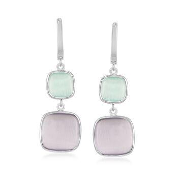 Purple and Green Glass Drop Earrings in Sterling Silver