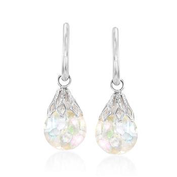 Floating Opal Hoop Drop Earrings in 14kt White Gold